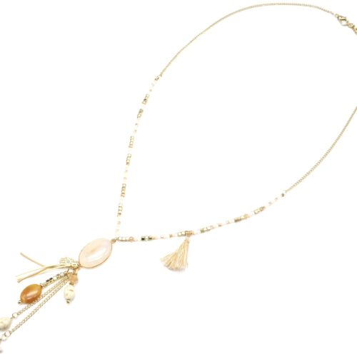 Sautoir-Collier-Mini-Perles-et-Pendentif-Y-Ovale-Pierre-et-Multi-Charms-Effet-Marbre-Ecru