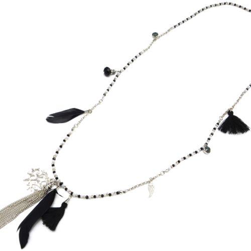Sautoir-Collier-Mini-Perles-et-Charms-Arbre-de-Vie-Métal-Plumes-et-Pompons-Noir