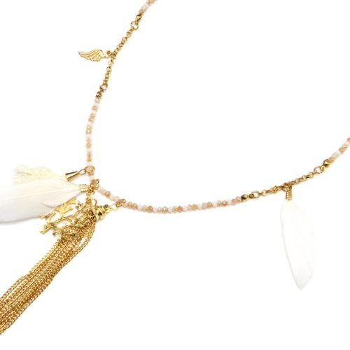 Sautoir-Collier-Mini-Perles-et-Charms-Arbre-de-Vie-Métal-Plumes-et-Pompons-Ecru