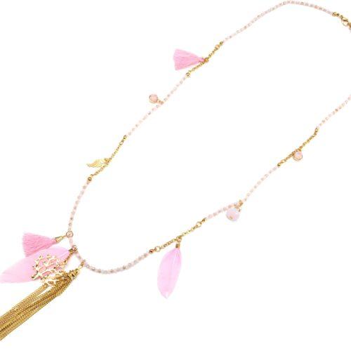 Sautoir-Collier-Mini-Perles-et-Charms-Arbre-de-Vie-Métal-Plumes-et-Pompons-Rose