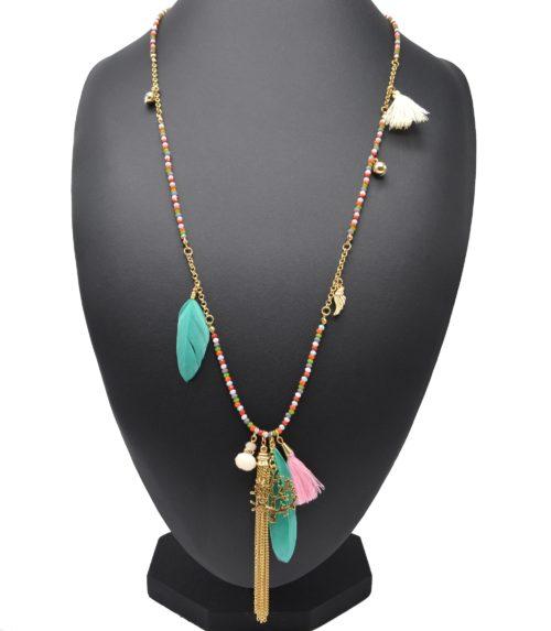Sautoir-Collier-Mini-Perles-et-Charms-Arbre-de-Vie-Métal-Plumes-et-Pompons-Multicolore