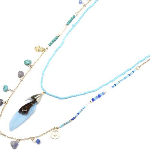 Sautoir-Collier-Double-Chaine-avec-Mini-Perles-Charms-Pierres-et-Plume-Bleu