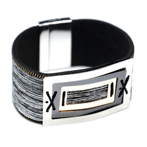 Bracelet-Manchette-Feutrine-Tissu-Satine-Noir-avec-Multi-Rectangles-Metal-Tricolore
