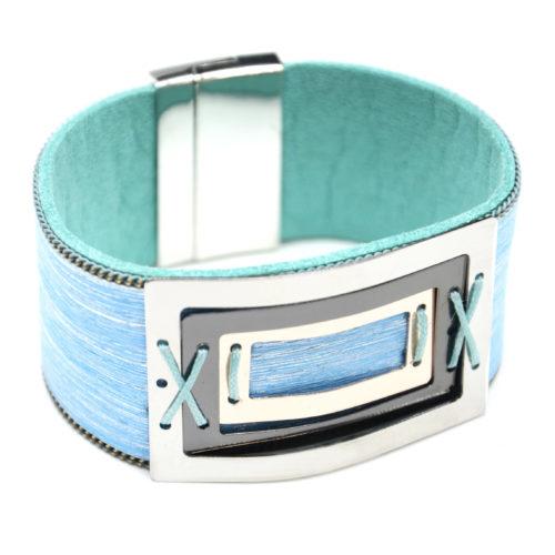 Bracelet-Manchette-Feutrine-Tissu-Satine-Bleu-avec-Multi-Rectangles-Metal-Tricolore
