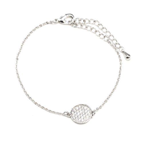 Bracelet-Fine-Chaine-Dore-a-lOr-Fin-avec-Charm-Cercle-Strass-Argente