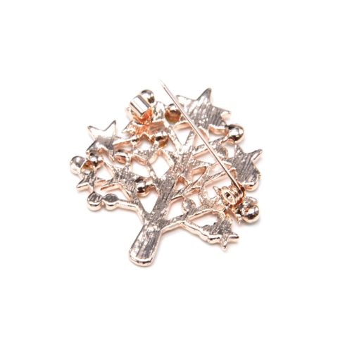 Broche-Epingle-Arbre-avec-Etoiles-Metal-Or-Rose-et-Multi-Strass