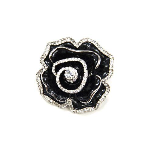 Broche-Epingle-Fleur-Metal-Peint-Noir-Argente-avec-Contour-Strass