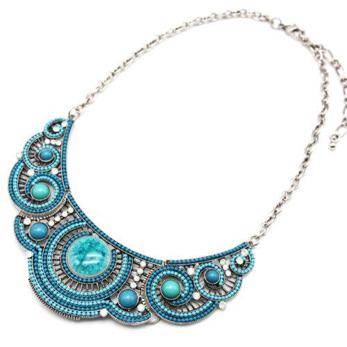 Collier-Plastron-Arabesques-Metal-Strass-Pierres-Bleu