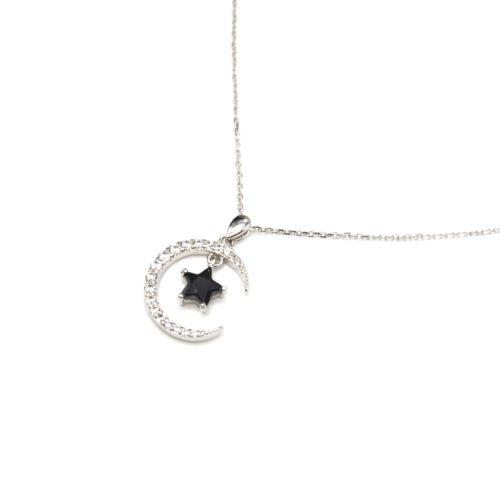 Collier-Fine-Chaine-Argent-925-Pendentif-Lune-Strass-Zirconium-et-Etoile-Pierre-Noire