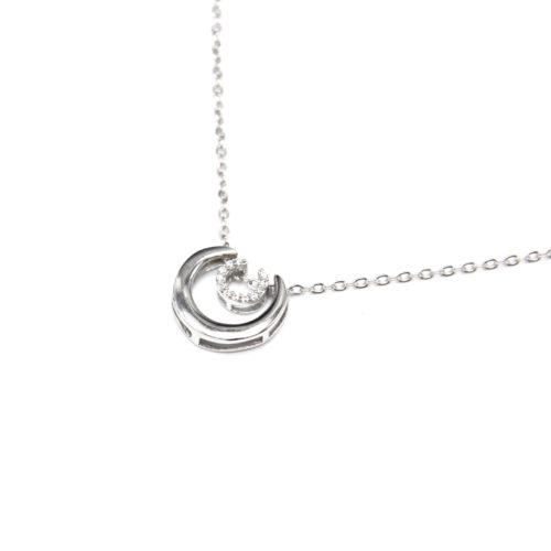 Collier-Fine-Chaine-Argent-925-Pendentif-Double-Arcs-de-Cercle-et-Strass