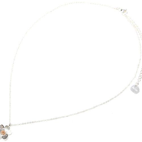 Collier-Fine-Chaine-Pendentif-Fleur-Petales-Motif-Relief-Acier-Argente-Or-Rose