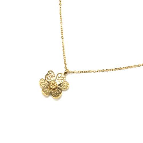 Collier-Fine-Chaine-Pendentif-Fleur-Petales-Motif-Relief-Acier-Dore