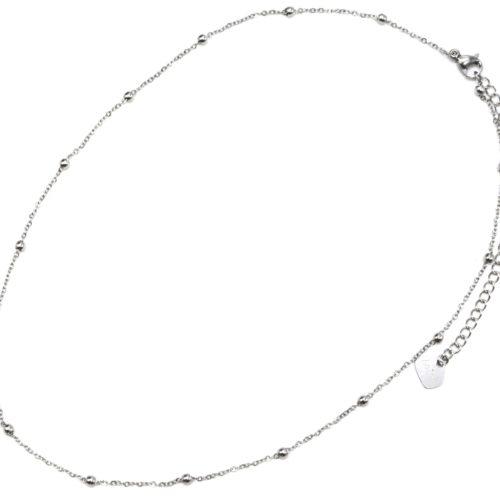 Collier-Fine-Chaine-Mini-Boules-Acier-Argente
