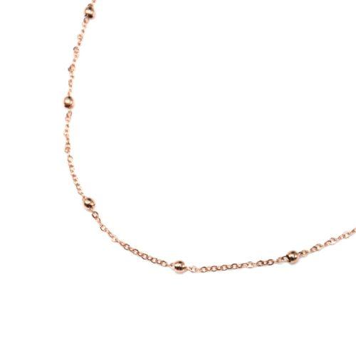 Collier-Fine-Chaine-Mini-Boules-Acier-Or-Rose