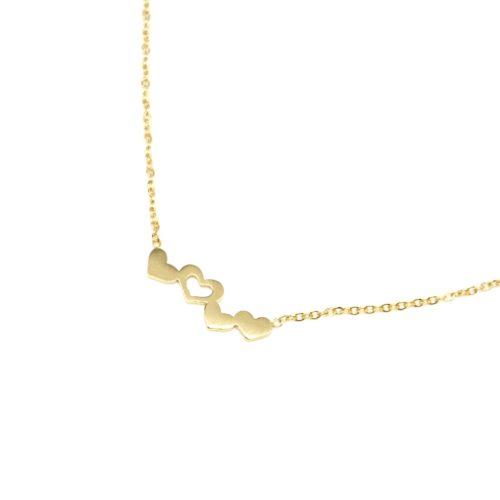 Collier-Fine-Chaine-Pendentif-Multi-Coeurs-Acier-Dore