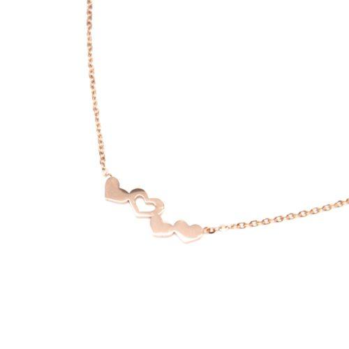 Collier-Fine-Chaine-Pendentif-Multi-Coeurs-Acier-Or-Rose