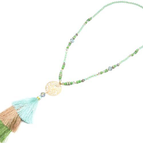 Sautoir-Collier-Perles-Pierres-avec-Cercle-Arbre-de-Vie-Ajoure-et-Triple-Pompons-Fils-Vert