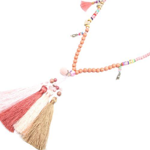 Sautoir-Collier-Perles-et-Pierres-Effet-Marbre-avec-Multi-Pompons-Fils-Corail-Rose