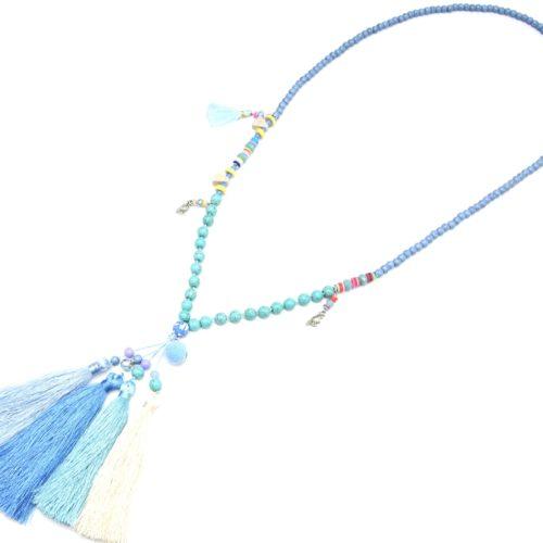 Sautoir-Collier-Perles-et-Pierres-Effet-Marbre-avec-Multi-Pompons-Fils-Bleu-Turquoise