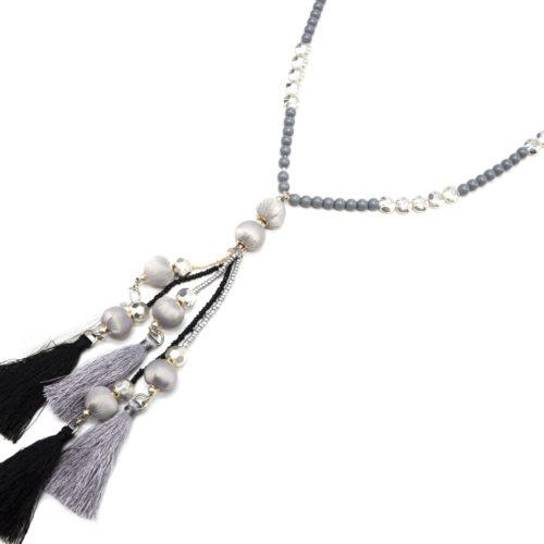 Sautoir-Collier-Cordons-Perles-avec-Boules-et-Multi-Pompons-Fils-Gris-Noir