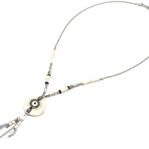 Sautoir-Collier-Chaine-Metal-Perles-avec-Pierre-Effet-Marbre-Ecru-Oeil-et-Charms-Gris