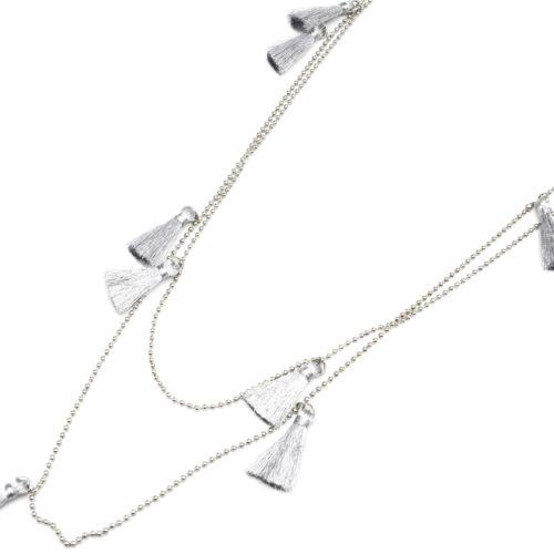 Sautoir-Collier-Double-Chaine-Boules-Metal-avec-Multi-Pompons-Fils-Argente