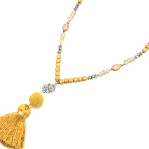 Sautoir-Collier-Perles-Pierres-Effet-Marbre-avec-Cercle-Ajoure-et-Pompon-Fils-Jaune-Moutarde