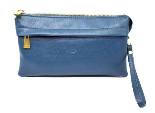 Pochette-Sac-Cuir-de-Vachette-Bleu-avec-Chaine-Bandouliere-et-Fermetures-Zip-Metal-Dore