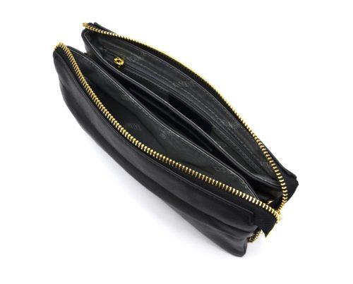 Pochette-Sac-Cuir-de-Vachette-Noir-avec-Chaine-Bandouliere-et-Fermetures-Zip-Metal-Dore