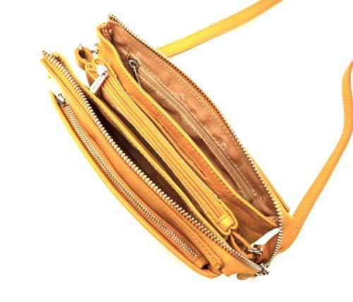 Pochette-Sac-Cuir-de-Vachette-Graine-Jaune-avec-Bandouliere-et-Fermetures-Zip-Metal-Argente