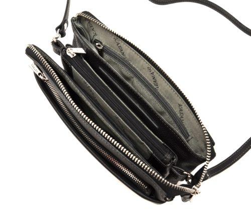 Pochette-Sac-Cuir-de-Vachette-Graine-Noir-avec-Bandouliere-et-Fermetures-Zip-Metal-Argente