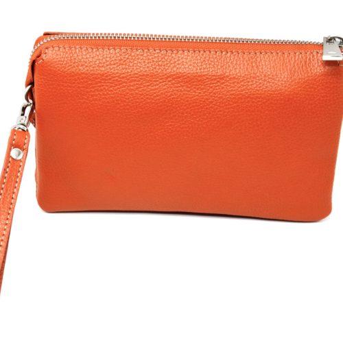 Pochette-Sac-Cuir-de-Vachette-Graine-Orange-avec-Bandouliere-et-Fermetures-Zip-Metal-Argente