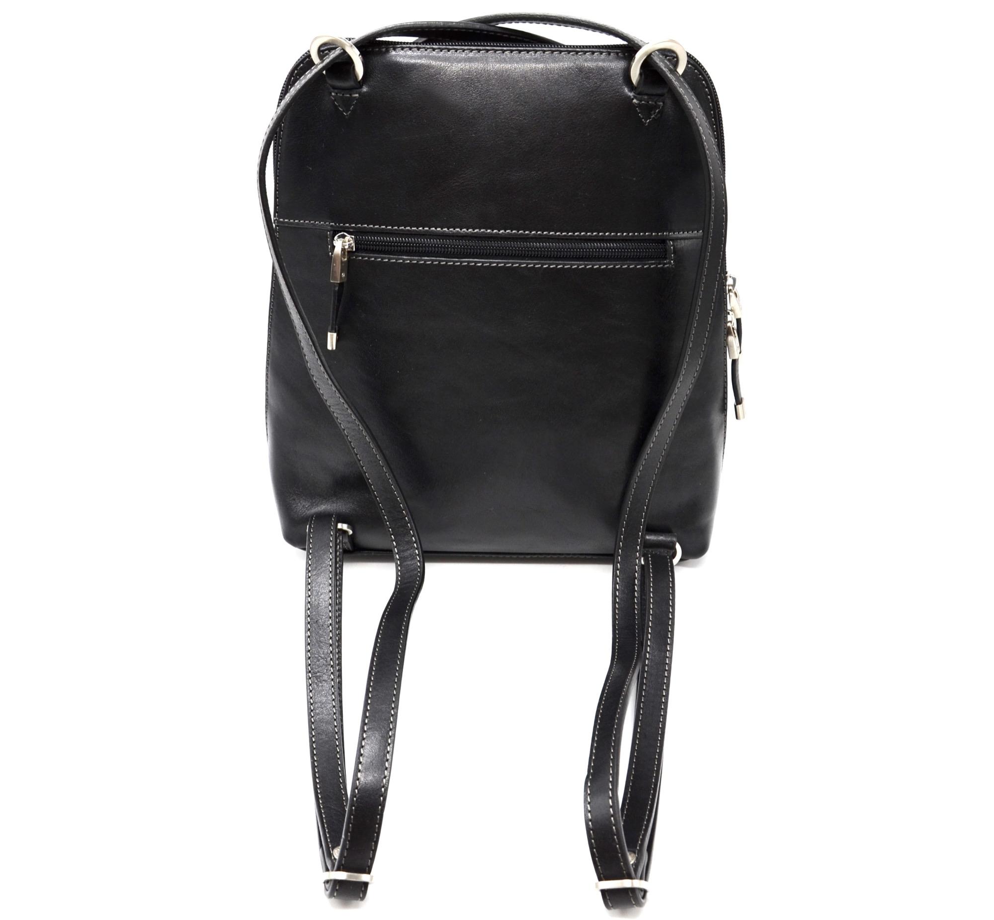 hdb06 sac dos cuir de vachette noir avec bretelles crois es et anneaux m tal argent oh my. Black Bedroom Furniture Sets. Home Design Ideas