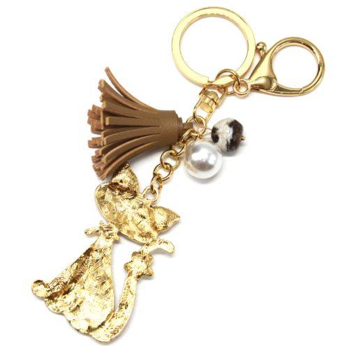 Porte-Cles-Bijou-de-Sac-Chat-Metal-Peint-Beige-Motif-avec-Fleurs-Perles-et-Pompon-Franges-Taupe
