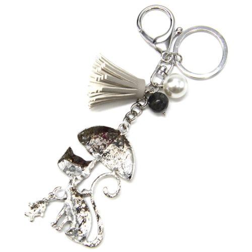 Porte-Cles-Bijou-de-Sac-Chat-Metal-Peint-Gris-avec-Parapluie-Perles-et-Pompon-Franges