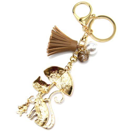 Porte-Cles-Bijou-de-Sac-Chat-Metal-Peint-Beige-avec-Parapluie-Perles-et-Pompon-Franges