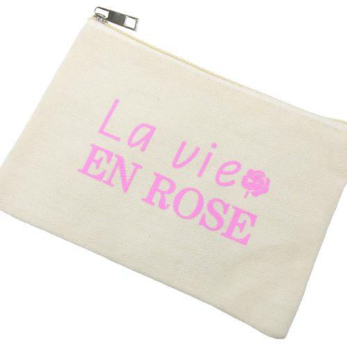 Trousse-Pochette-Tissu-Creme-Message-La-Vie-En-Rose
