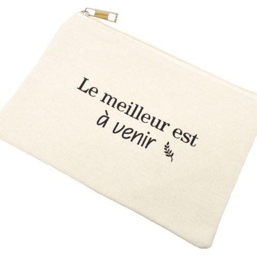Trousse-Maquillage-Pochette-Tissu-Creme-Message-Le-Meilleur-Est-A-Venir