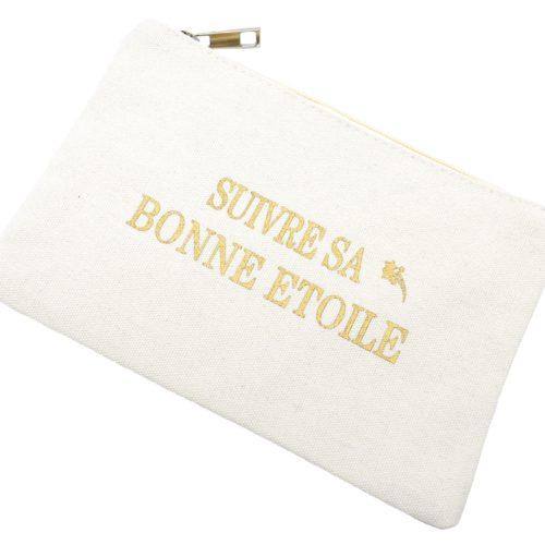 Trousse-Maquillage-Pochette-Tissu-Creme-Message-Suivre-Sa-Bonne-Etoile