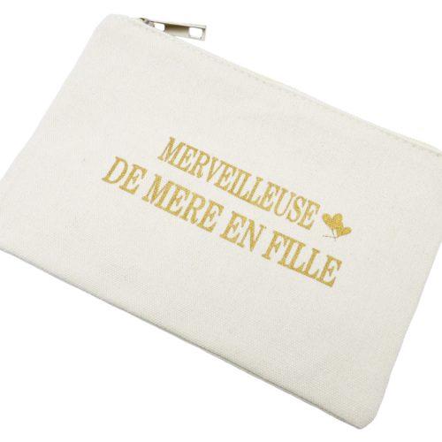 Trousse-Maquillage-Pochette-Tissu-Creme-Message-Merveilleuse-De-Mere-En-Fille
