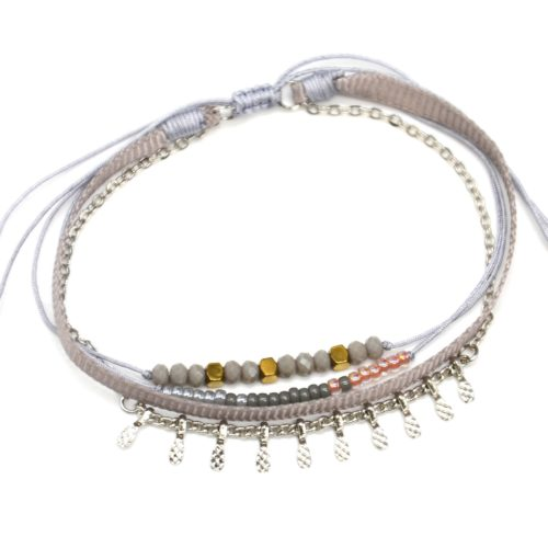 Bracelet-Cordon-Multi-Rangs-Perles-Ruban-Gris-et-Pampilles-Metal-Argente