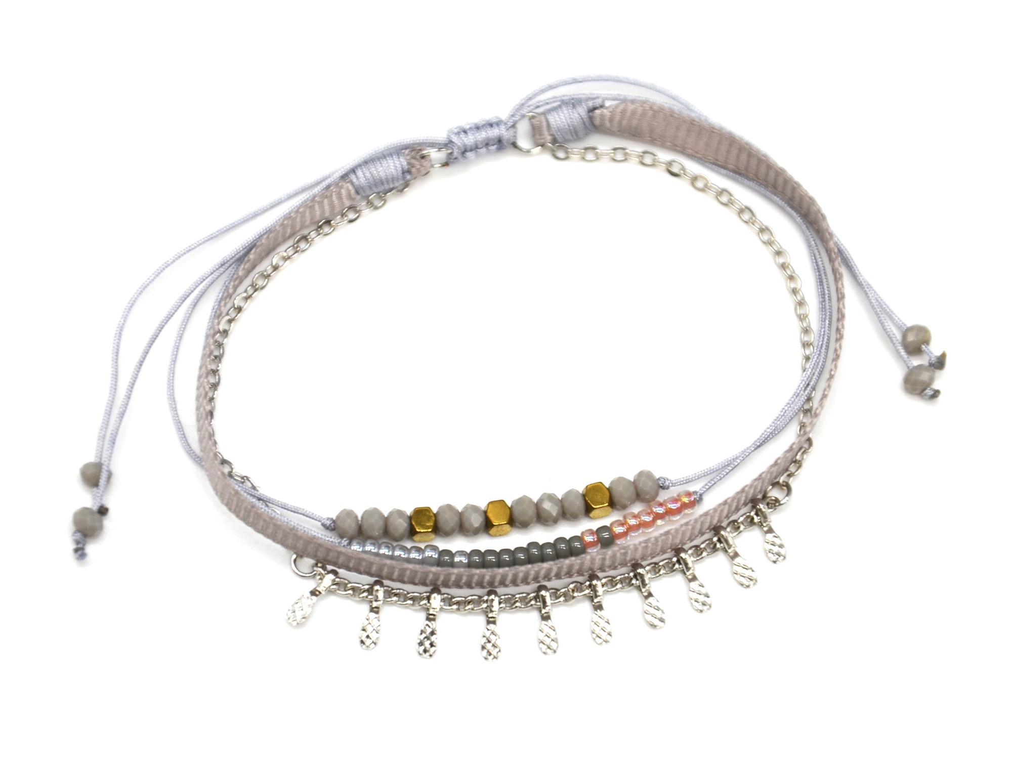 Bc2936f bracelet cordon multi rangs perles pierres et ruban gris avec charm ebay - Bracelet perle et ruban ...