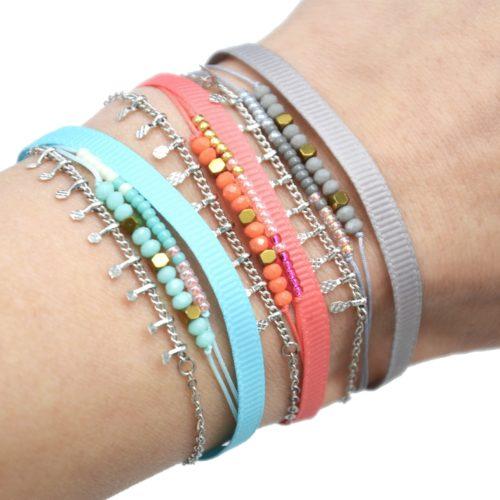 Bracelet-Cordon-Multi-Rangs-Perles-Ruban-et-Pampilles-Metal-Argente