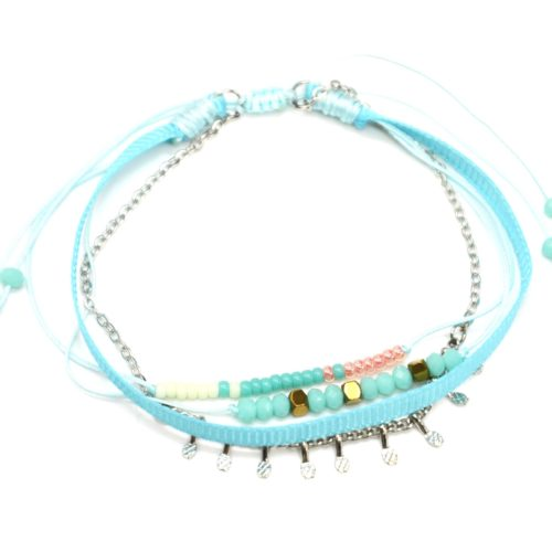 Bracelet-Cordon-Multi-Rangs-Perles-Ruban-Bleu-et-Pampilles-Metal-Argente