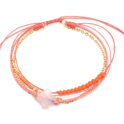Bracelet-Cordon-Multi-Rangs-Perles-et-Fils-Orange-avec-Charm-Pierre-Trefle