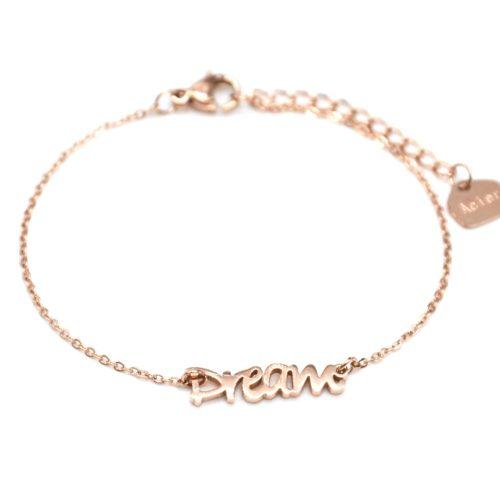 Bracelet-Fine-Chaine-avec-Charm-Dream-Acier-Or-Rose