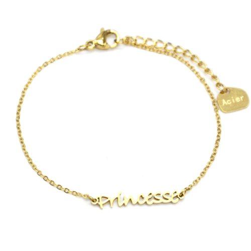 Bracelet-Fine-Chaine-avec-Charm-Princesse-Acier-Dore