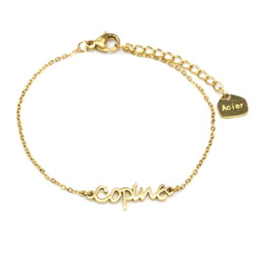 Bracelet-Fine-Chaine-avec-Charm-Copine-Acier-Dore
