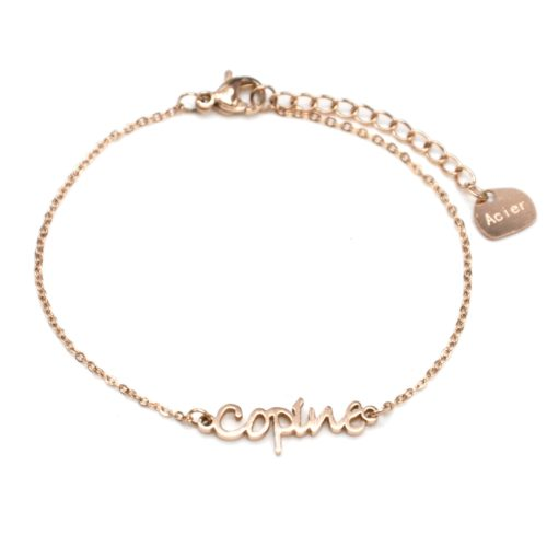 Bracelet-Fine-Chaine-avec-Charm-Copine-Acier-Or-Rose