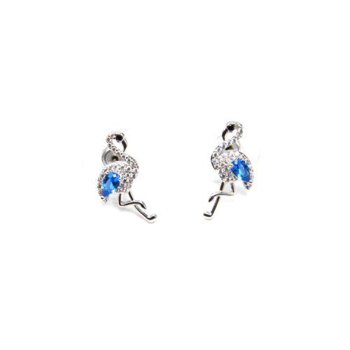 Boucles-dOreilles-Flamant-Rose-Strass-Zirconium-Argente-et-Pierre-Bleue